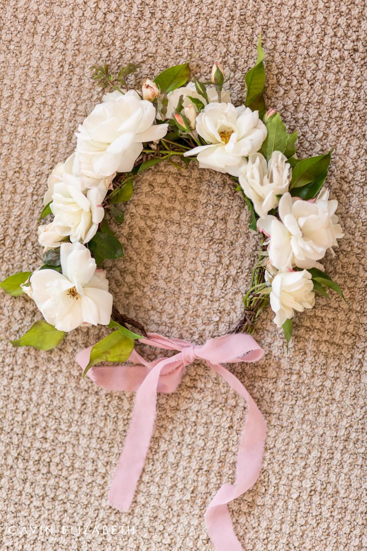 siren floral co white garden rose floral crown with blush bellame ribbon