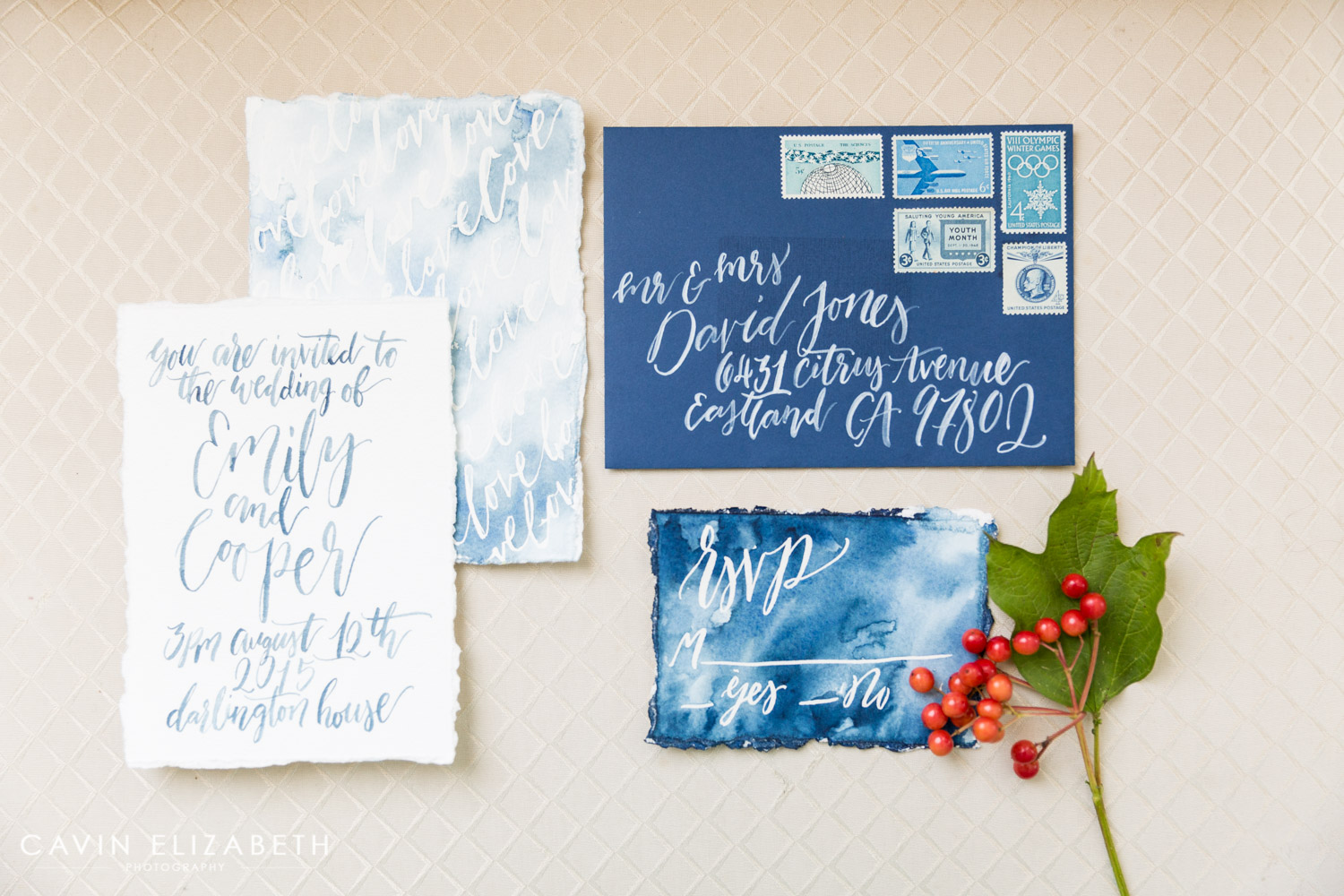blue and white watercolor painter invitation suite for a ballet degas themed wedding, la jolla wedding