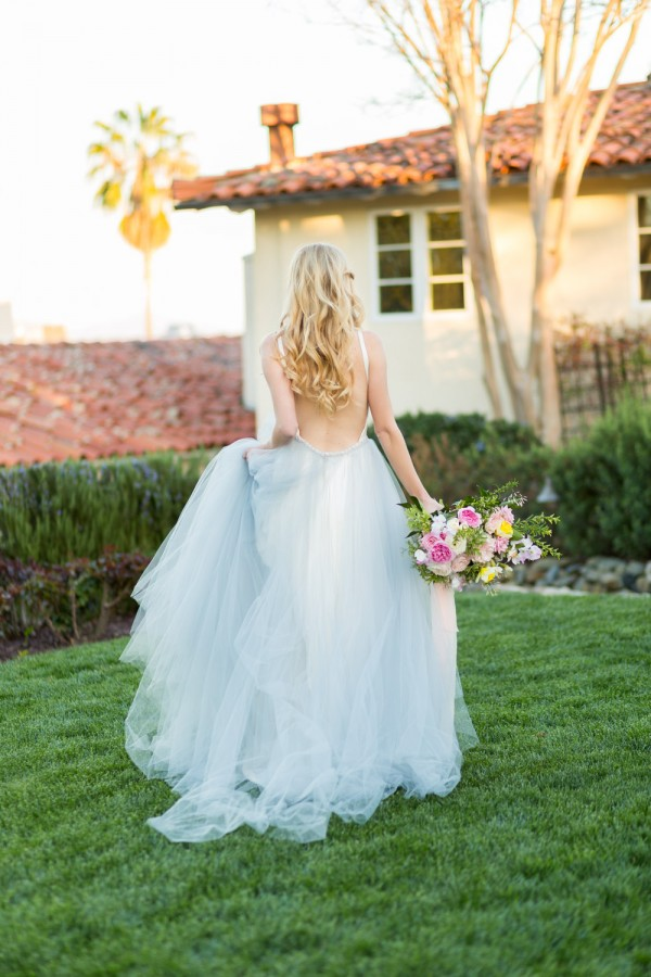 Inn at Rancho Santa Fe wedding bridal portrait of the bride in a blue tulle wedding gown from Alyssa Kristin carrying a bouquet by Blue Ladder Botany