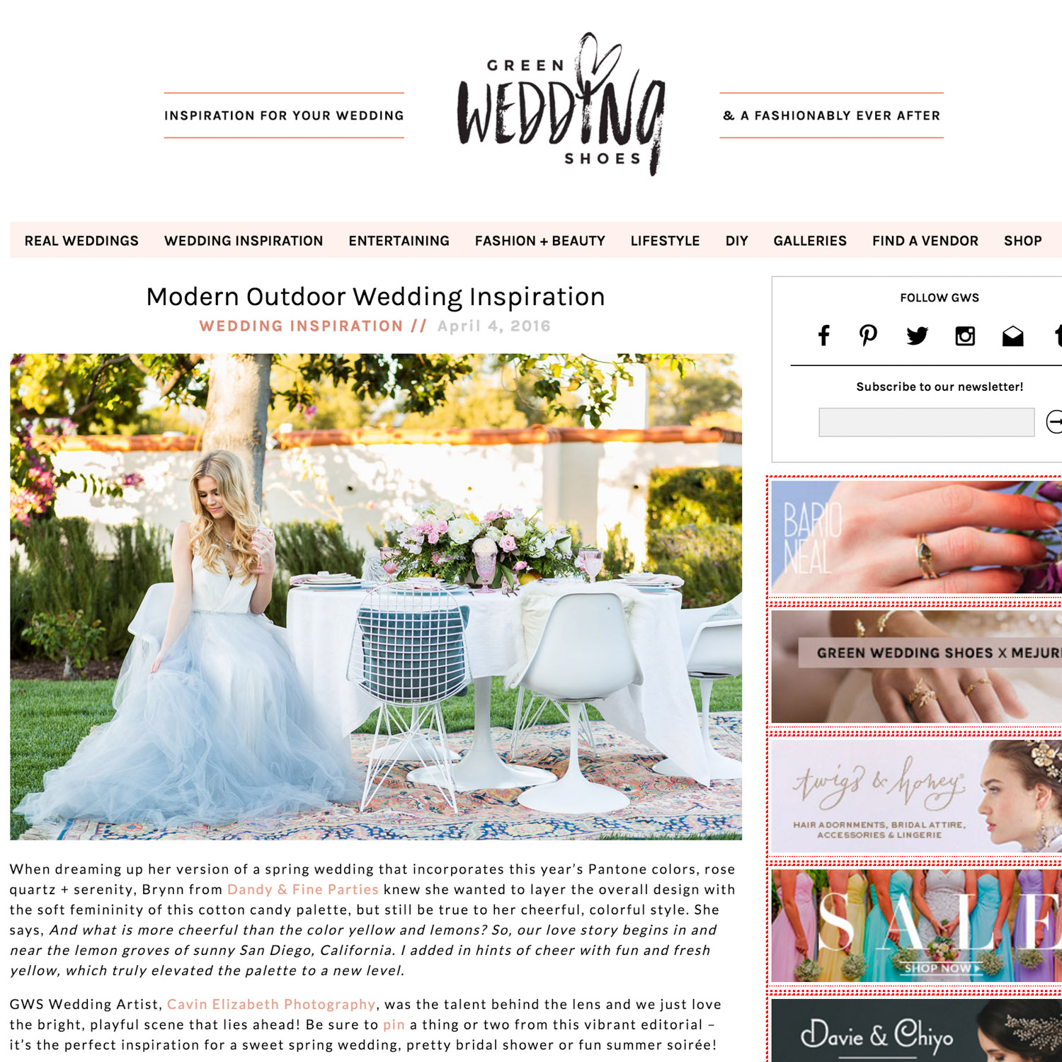 San Diego wedding photographer featured on Green Wedding Shoes press blog