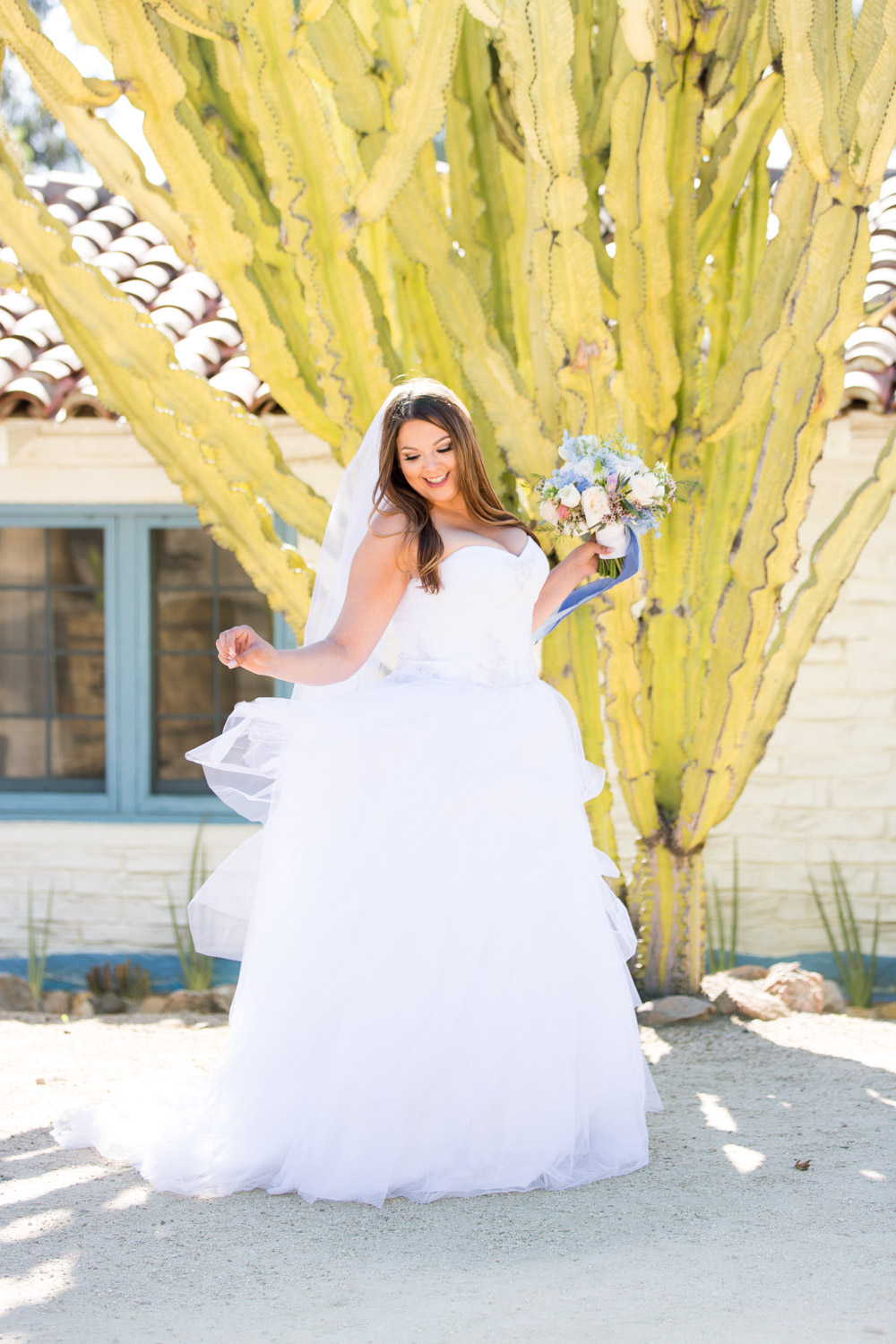Bridal portrait candid at Leo Carrillo Ranch