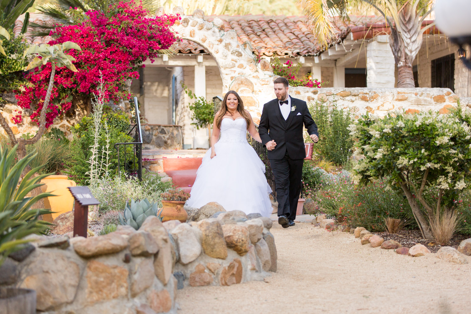 Bride and groom wedding portrait with backlighting at Leo Carrillo