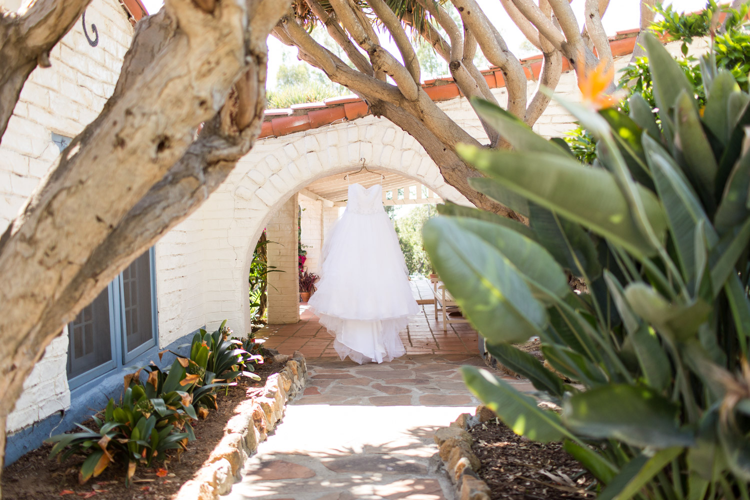 Wedding gown hanging at a Leo Carrillo Ranch Wedding in Carlsbad