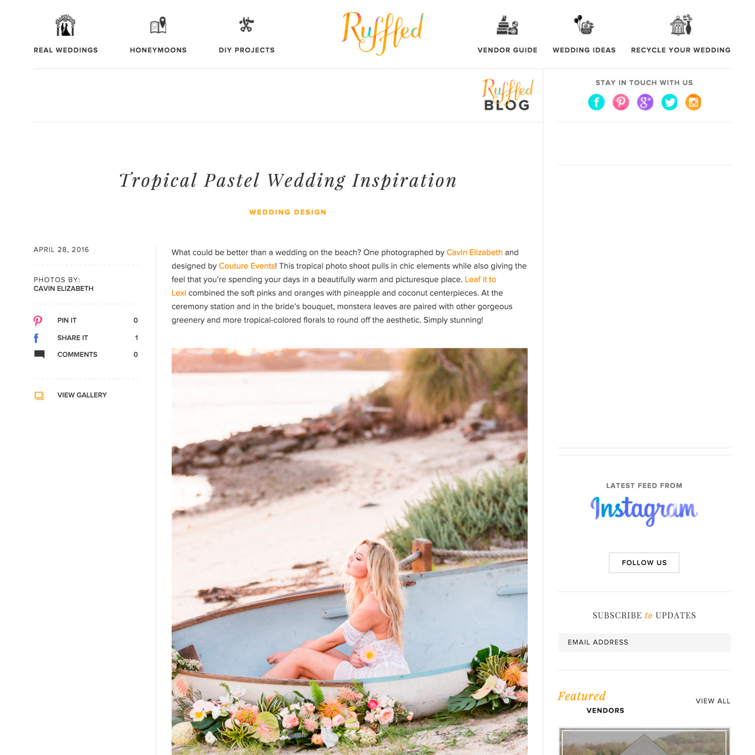 San Diego wedding photographer featured on Ruffled press blog