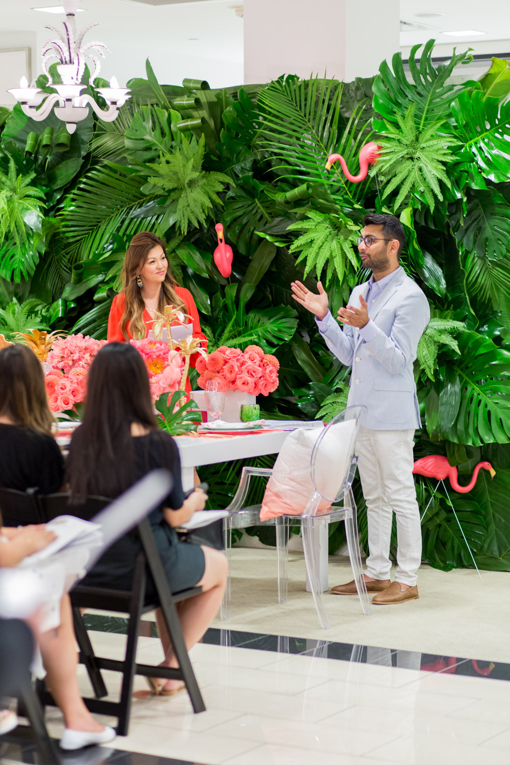 Jeannie Savage from Details Details and Fayaz from Bloom Box giving a presentation about a Luxury Flamingo Themed Tablescape by Cavin Elizabeth Photography