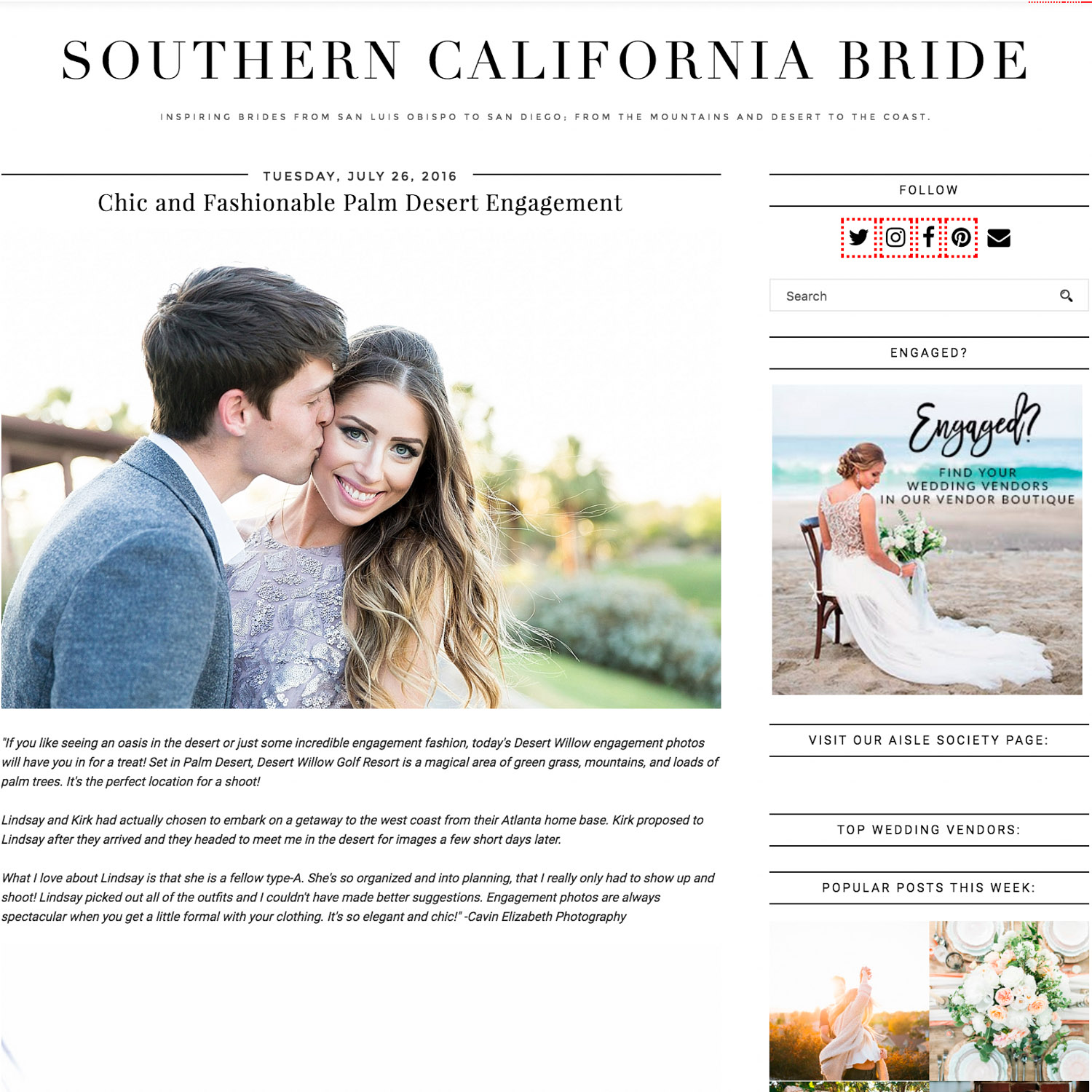 wedding photographer featured on Southern California Bride