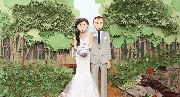 Brittani Rose Paper custom wedding portraits, paper wedding recreation