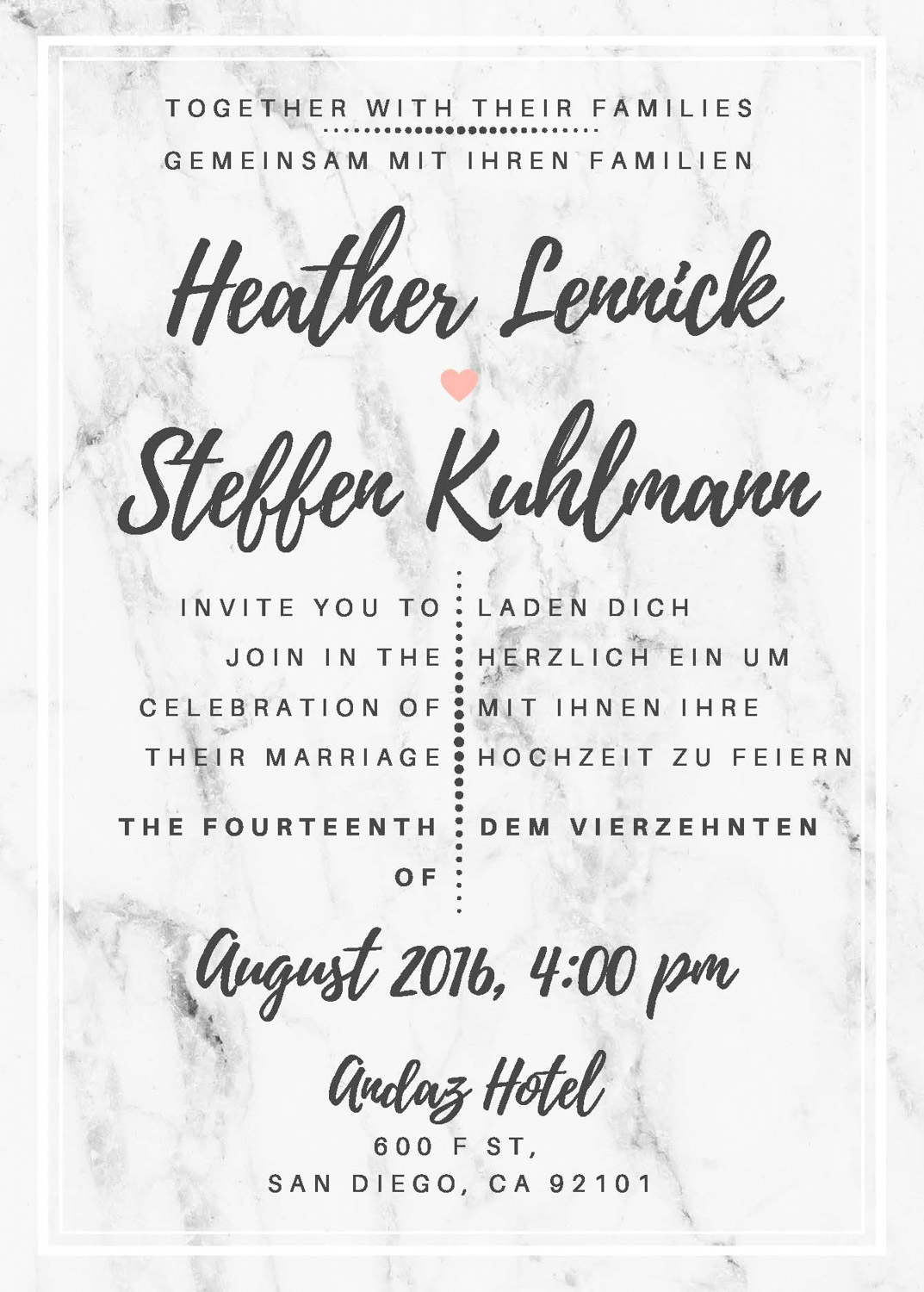 Bilingual marble wedding invitation in English and German