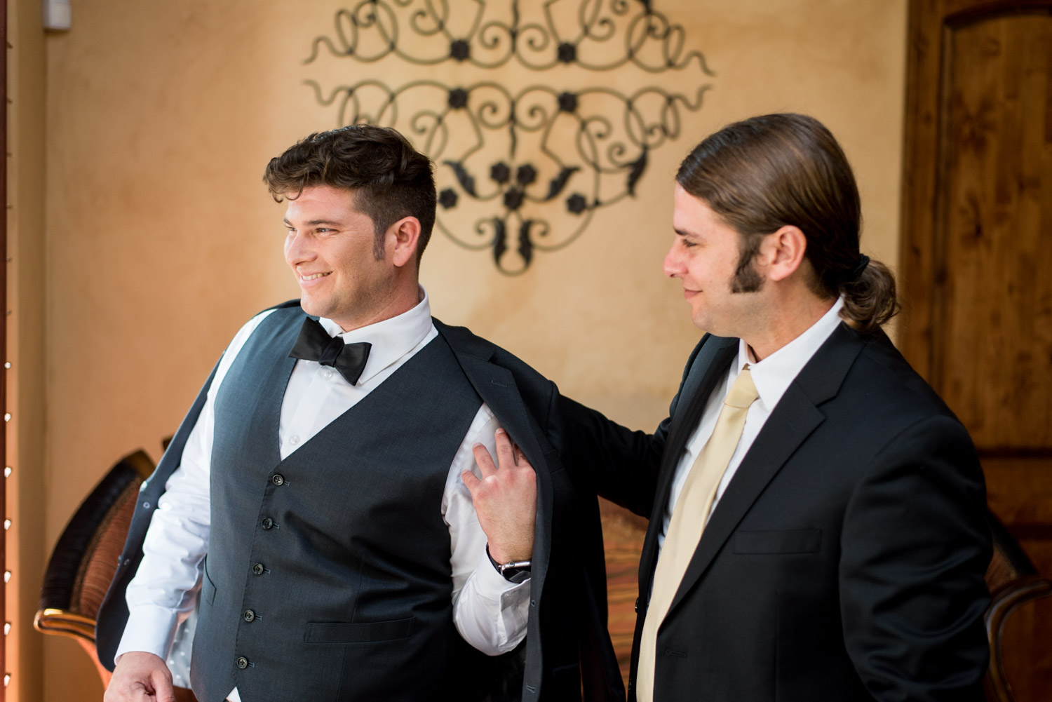 Groom getting ready at Desert Ridge Estate for his Palm Desert wedding, Cavin Elizabeth Photography