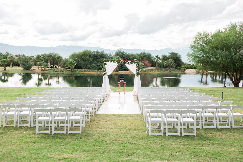 White flooring for outdoor ceremony, Wedding ceremony at Desert Ridge Estate, Cavin Elizabeth Photography