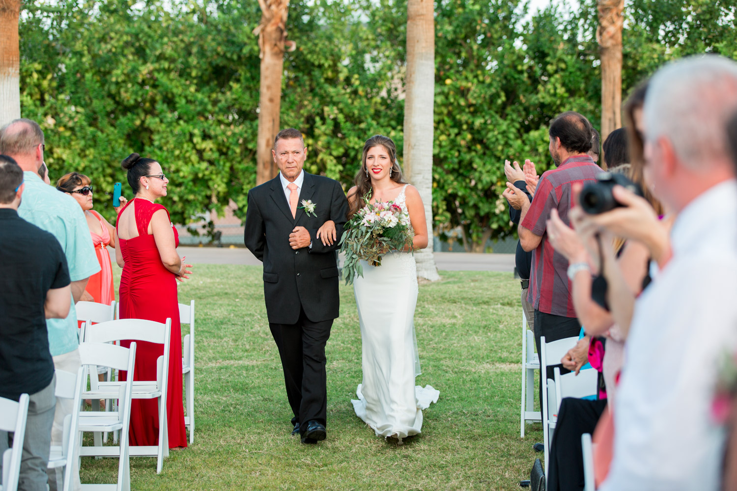 Bride and father walking down aisle, Wedding ceremony at Desert Ridge Estate, Cavin Elizabeth Photography