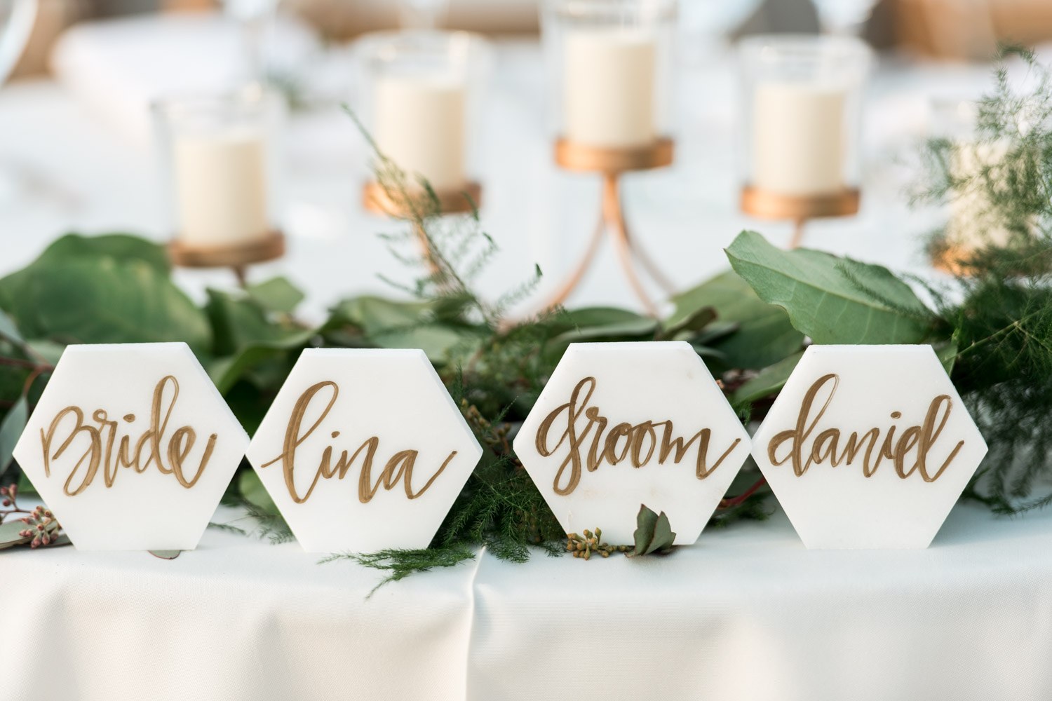 White marble hexagon bride and groom name cards, , Cavin Elizabeth Photography