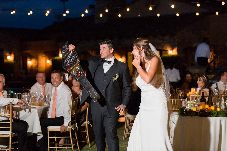 Wedding grand entrance at Desert Ridge, bride and groom candid nighttime wedding photos, Cavin Elizabeth Photography