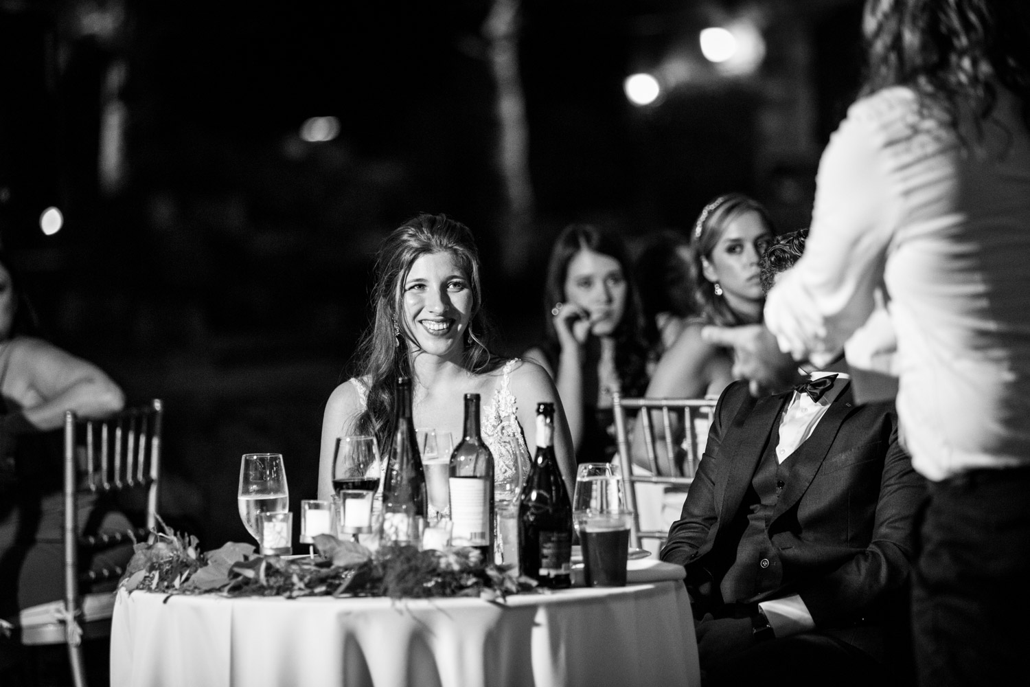 Bride reacting to wedding toast by best man, Cavin Elizabeth Photography