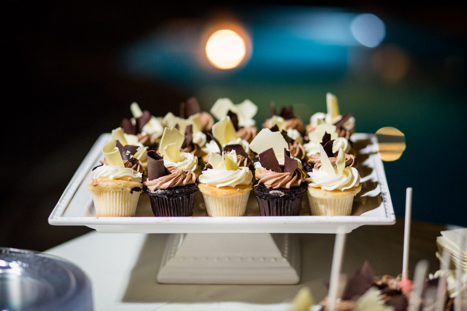 Wedding desserts and mini vanilla and chocolate cupcakes, Cavin Elizabeth Photography