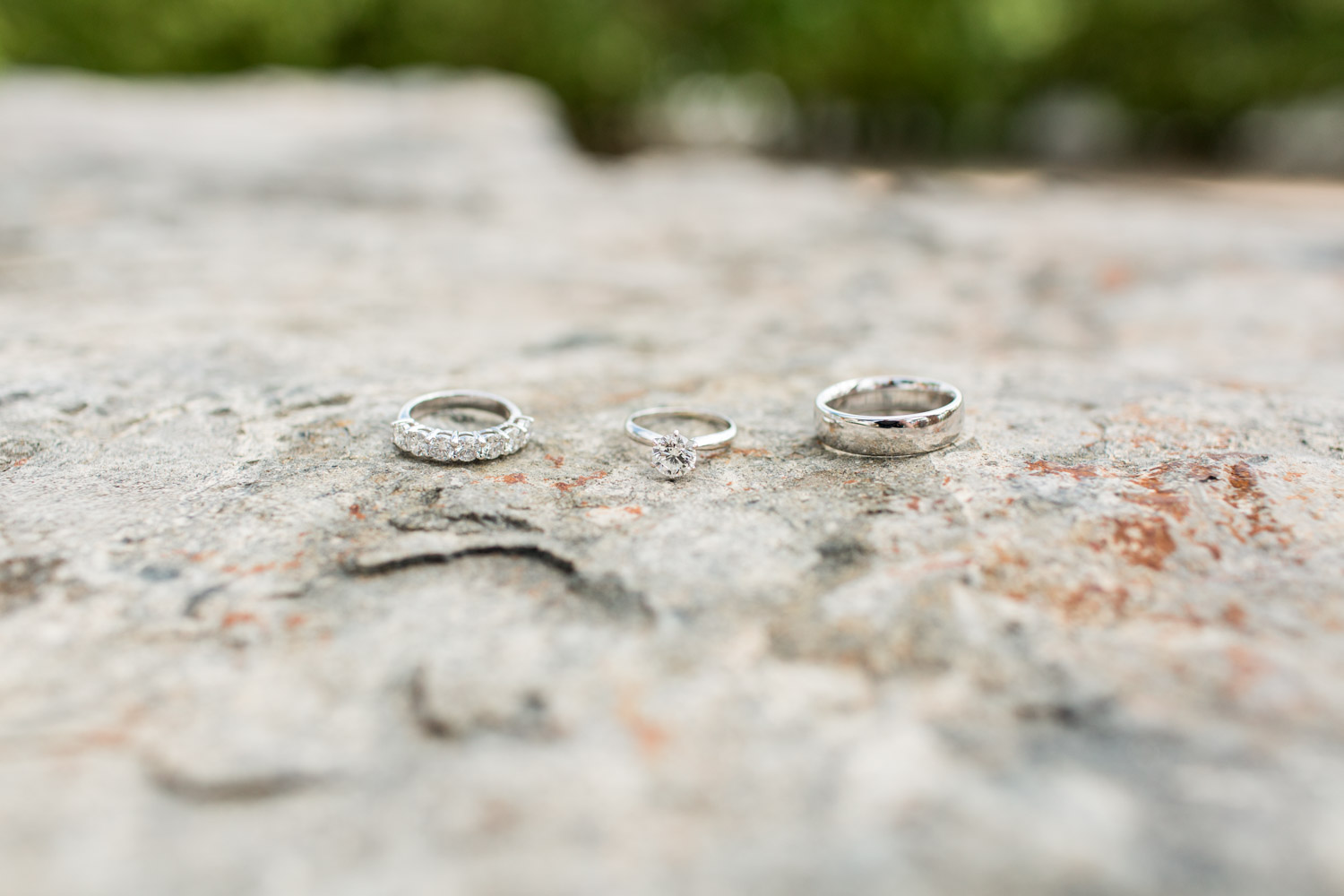 Wedding rings and bands with diamonds on stone, Desert Ridge Estate wedding in Palm Desert, Cavin Elizabeth Photography