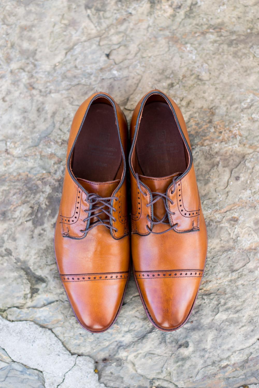Suave men's wedding shoes in brown tan, Cavin Elizabeth Photography