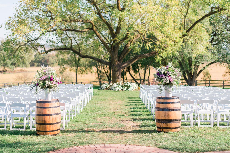Wedding ceremony at Walker's Overlook under a large tree, garden wedding, Cavin Elizabeth Photography