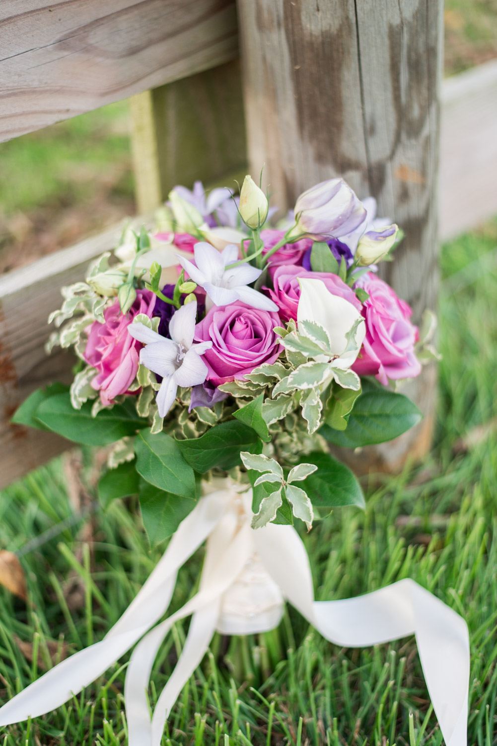 Gorgeous garden romantic bridal bouquet with pink lavender white and green with a cream silk ribbon, Cavin Elizabeth Photography