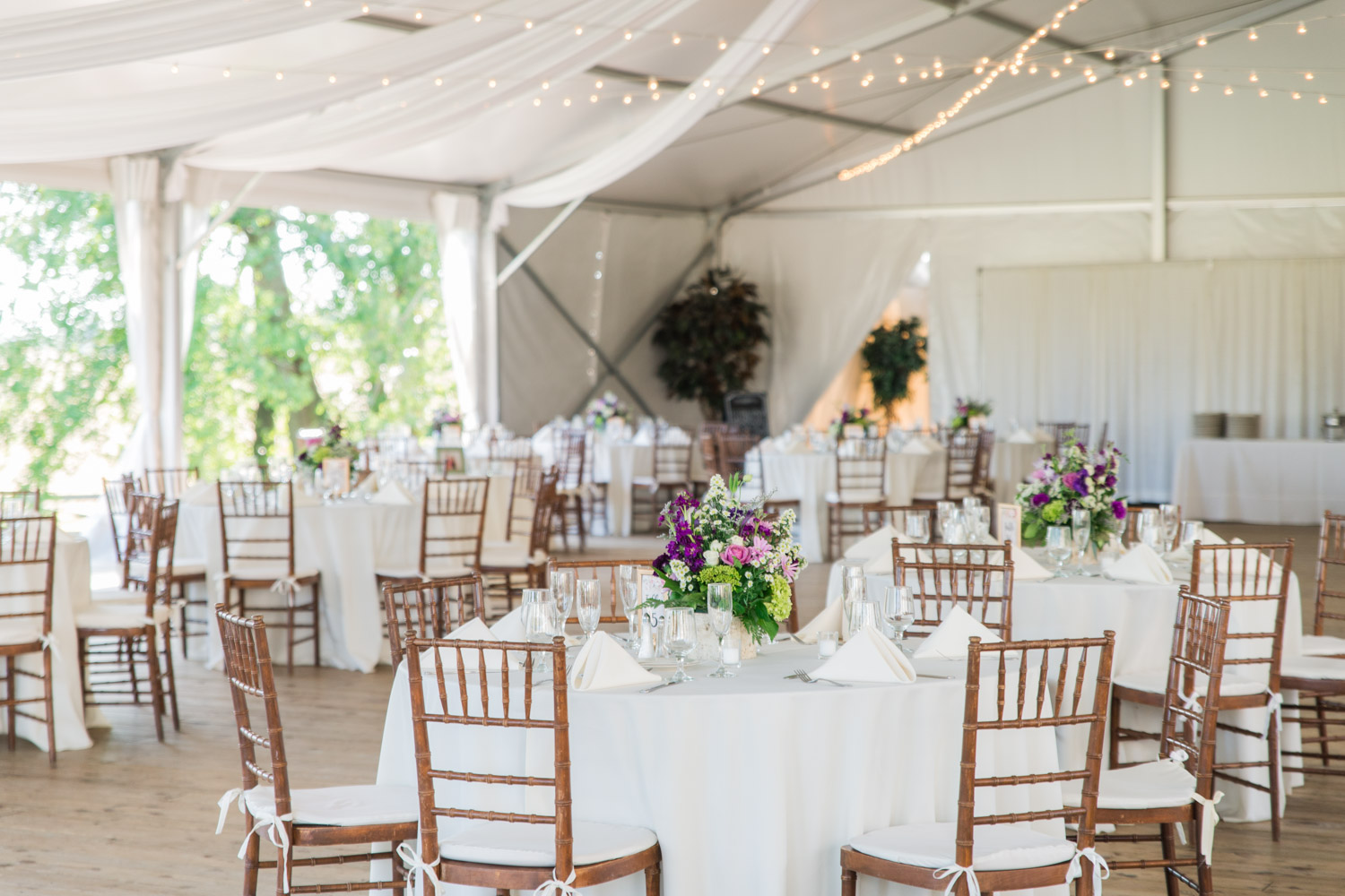 Wedding reception at Walker's Overlook with white linens and eggplant sage pink and green flowers, vintage romantic garden wedding ideas, Cavin Elizabeth Photography