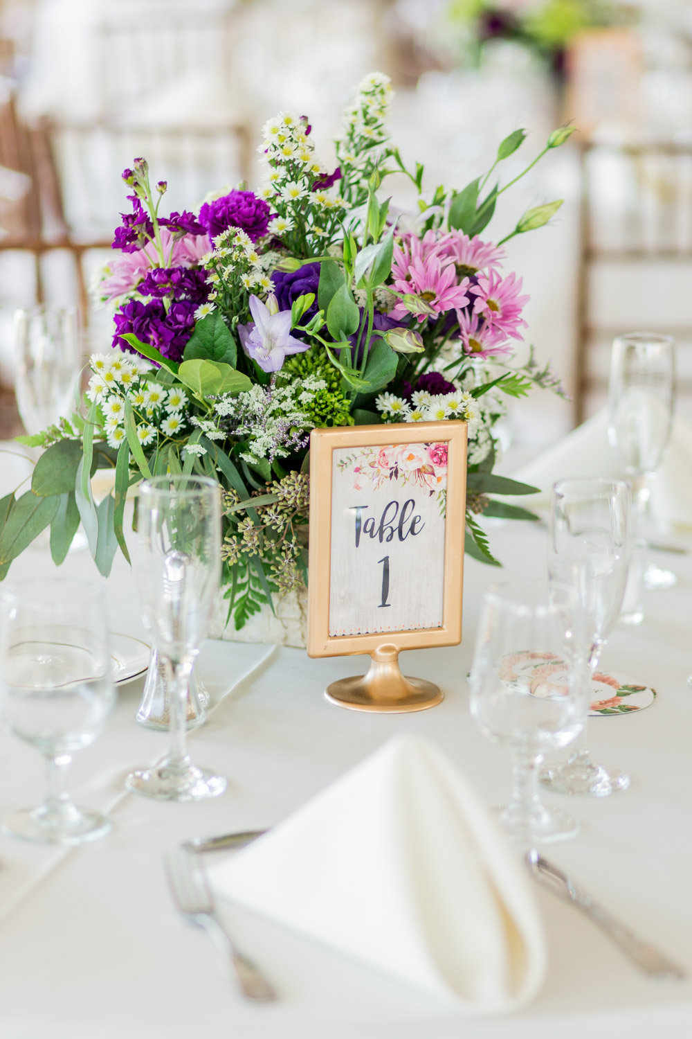 Gold framed floral table number, Wedding reception at Walker's Overlook with white linens and eggplant sage pink and green flowers, vintage romantic garden wedding ideas, Cavin Elizabeth Photography