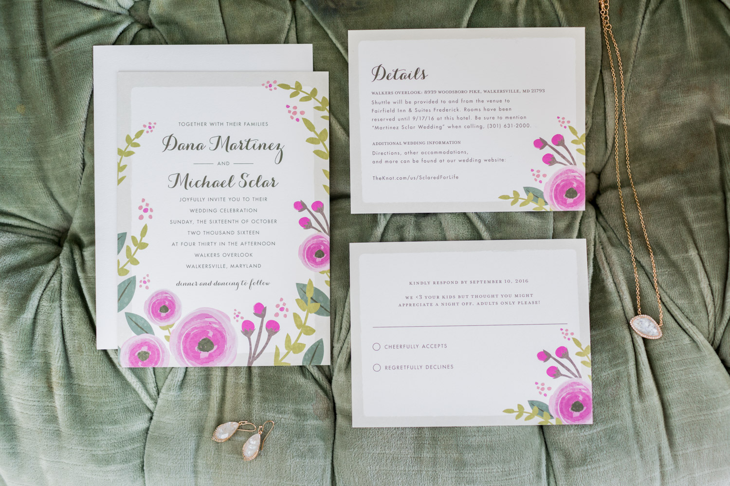 Wedding invitation custom suite with green and pink flowers for a romantic garden vintage wedding for colors sage, eggplant, and cream, Cavin Elizabeth Photography