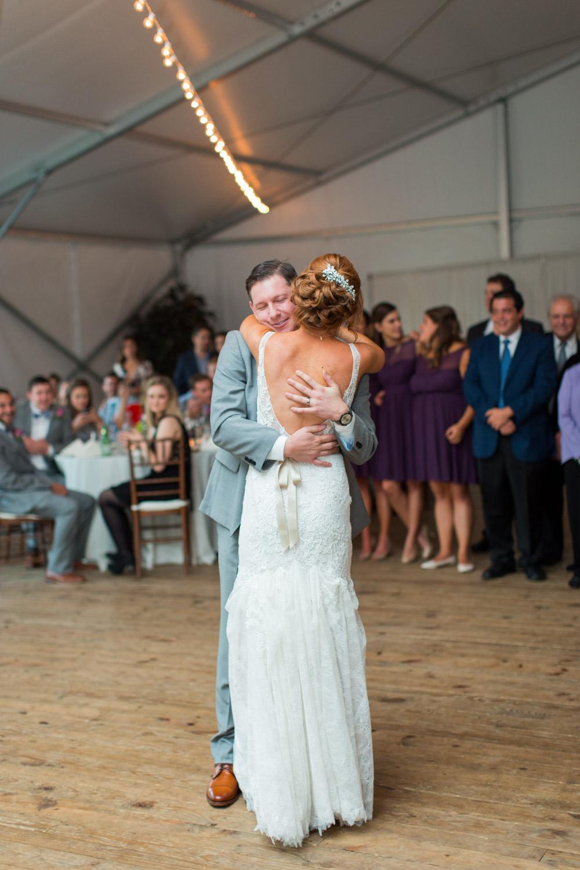 Bride and groom first dance at Walker's Overlook tented wedding reception, Cavin ELizabeth Photography