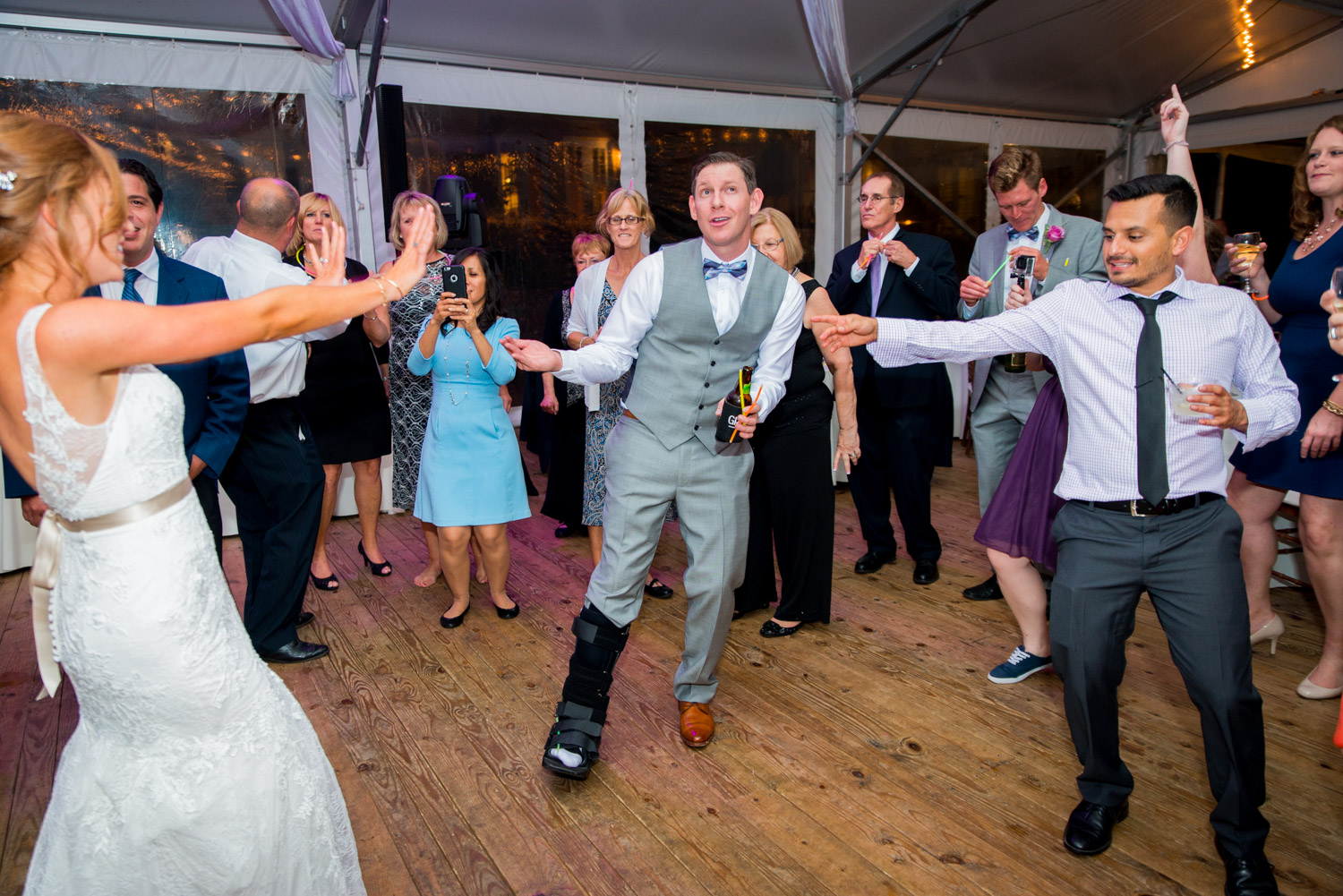 Bride and groom on the dance floor at Walker's Overlook, nighttime wedding photography from Cavin Elizabeth Photography