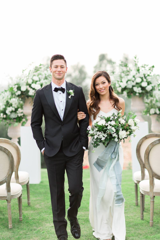 Rancho Valencia Wedding Photography by Cavin Elizabeth, ceremony bride and groom walking down the aisle