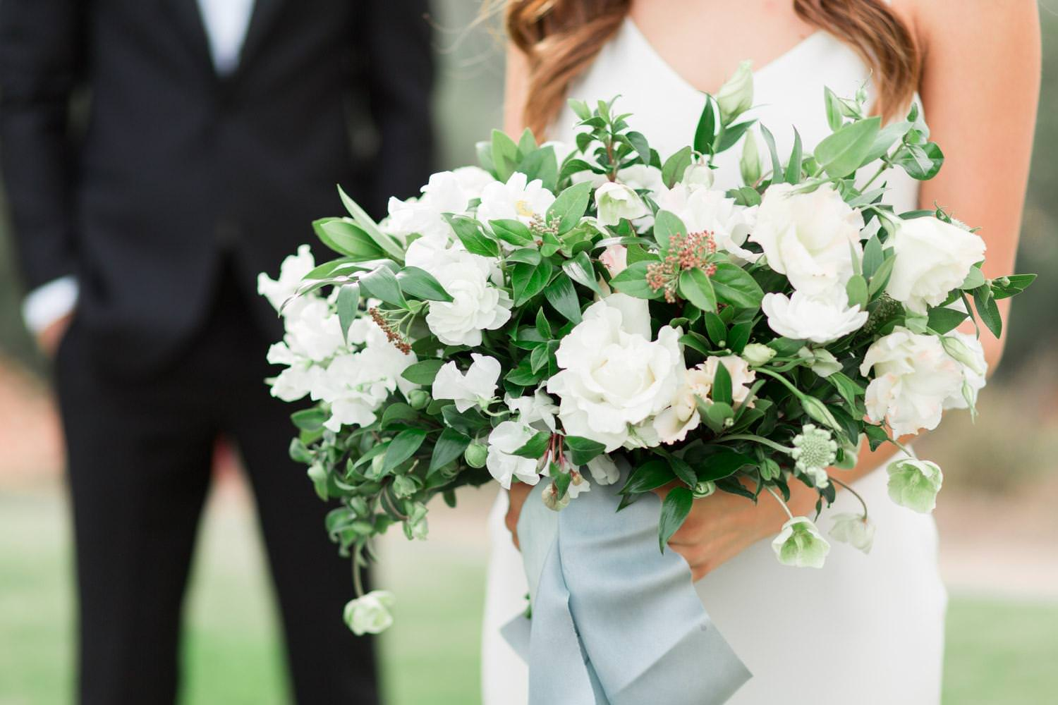 Rancho Valencia Wedding Photography by Cavin Elizabeth, large bridal bouquet with white and green