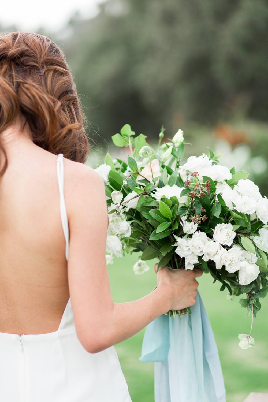 Rancho Valencia Wedding Photography by Cavin Elizabeth, bridal bouquet and backless wedding gown