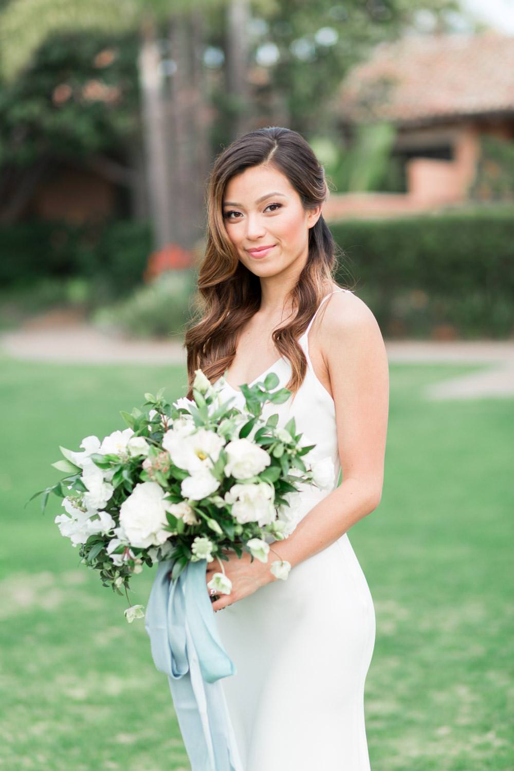Rancho Valencia Wedding Photography by Cavin Elizabeth, bride with fine art white and green bouquet