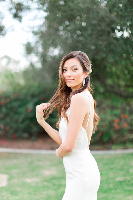 Rancho Valencia Wedding Photography by Cavin Elizabeth, bridal portrait in Sarah Seven minimalist gown