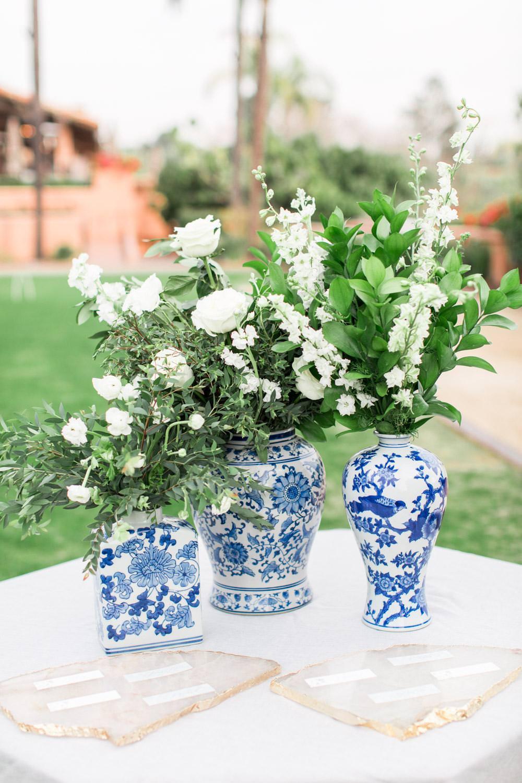 Rancho Valencia Wedding Photography by Cavin Elizabeth, chinoiserie vases for wedding decor