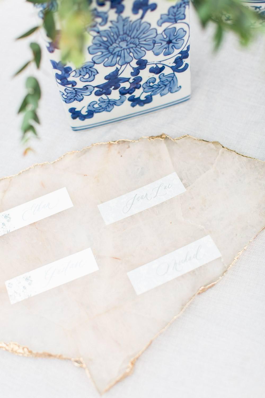 Rancho Valencia Wedding Photography by Cavin Elizabeth, escort cards on marble