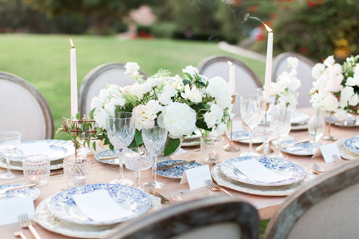 Rancho Valencia Wedding Photography by Cavin Elizabeth, wedding tablescape with chinoiserie plates and white and green flowers