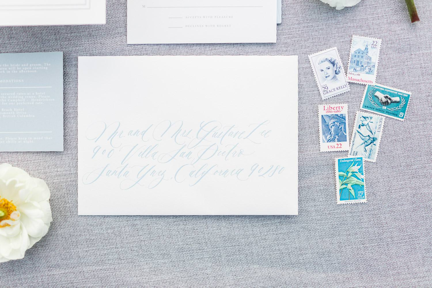 Rancho Valencia Wedding Photography by Cavin Elizabeth, Written Word Calligraphy white invitation suite