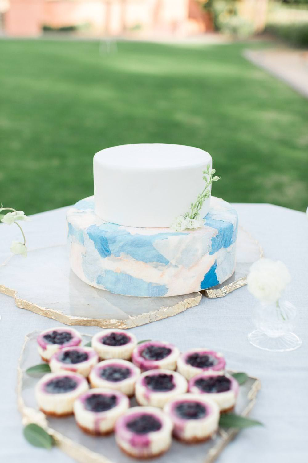 Rancho Valencia Wedding Photography by Cavin Elizabeth, wedding cake with white and blue