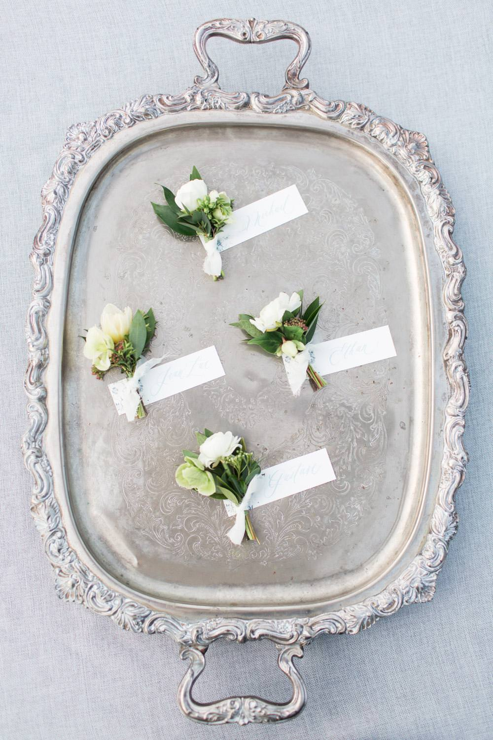 Rancho Valencia Wedding Photography by Cavin Elizabeth, Compass Floral white and green boutonnieres
