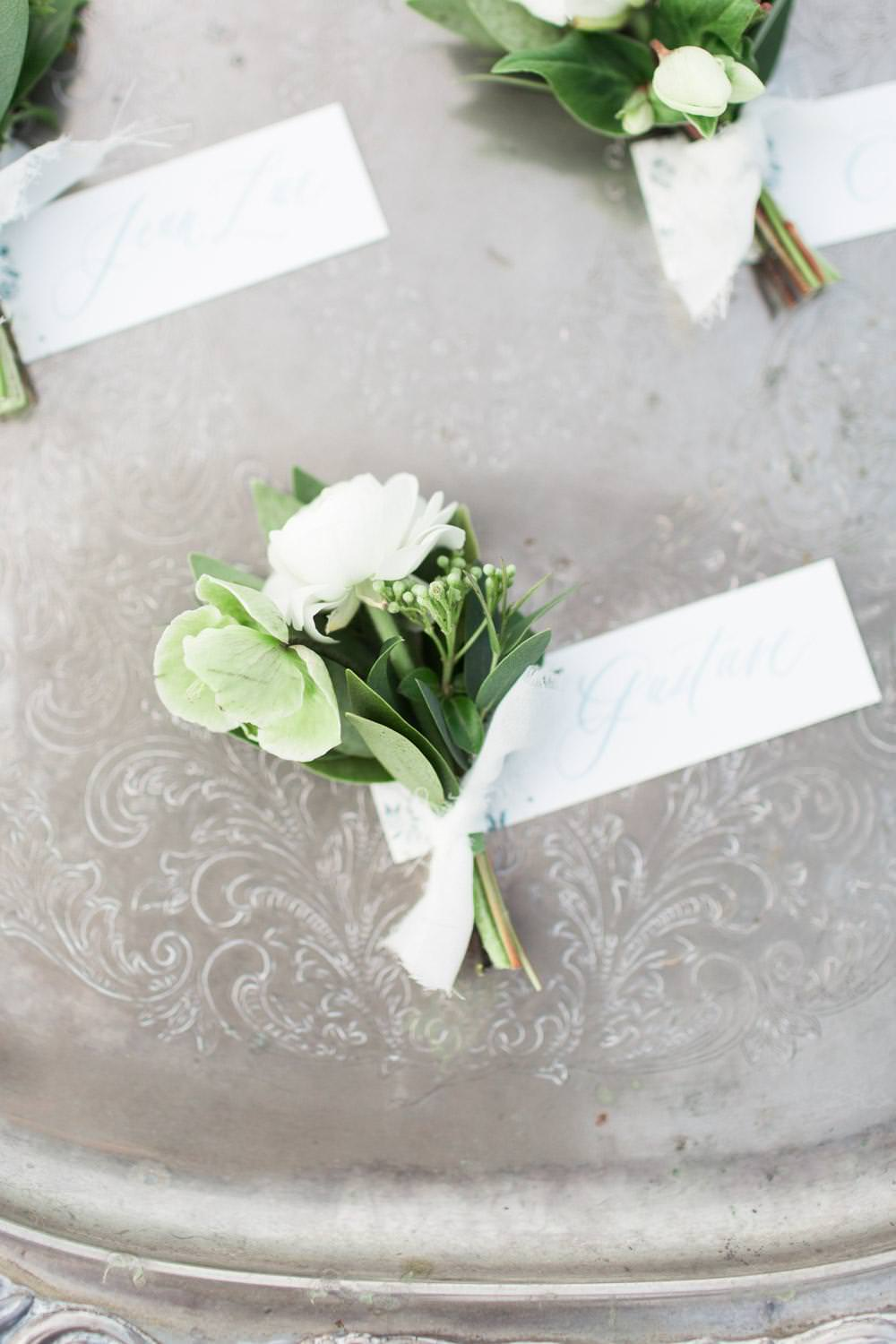 Rancho Valencia Wedding Photography by Cavin Elizabeth, Compass Floral white and green boutonniere