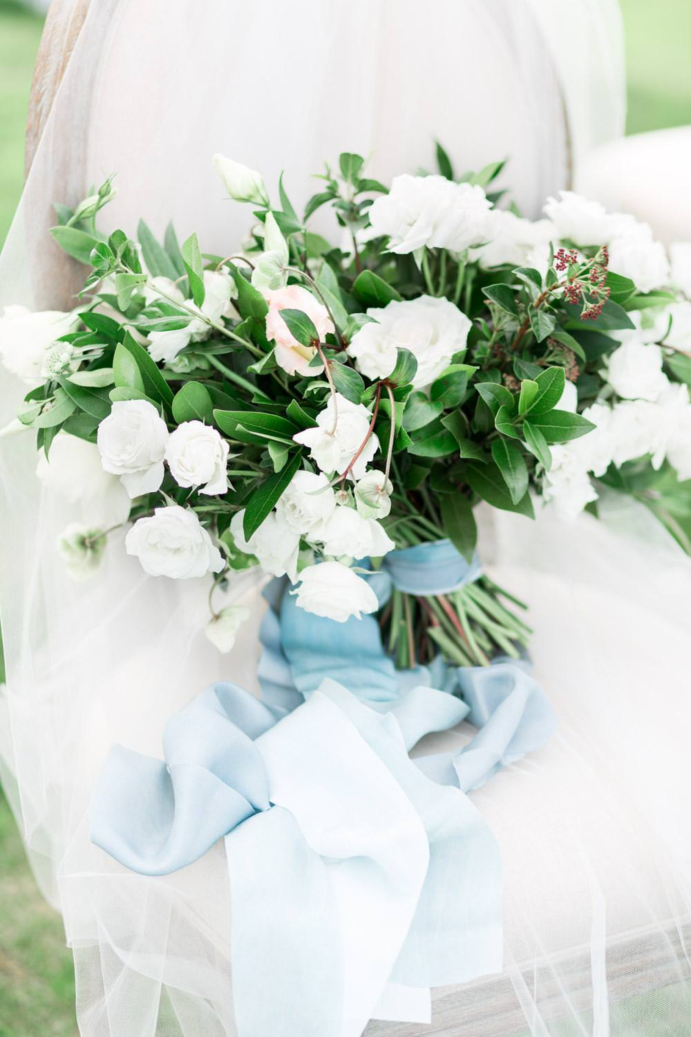 Rancho Valencia Wedding Photography by Cavin Elizabeth, Compass Floral white and green bouquet with blue Silk and Willow ribbon