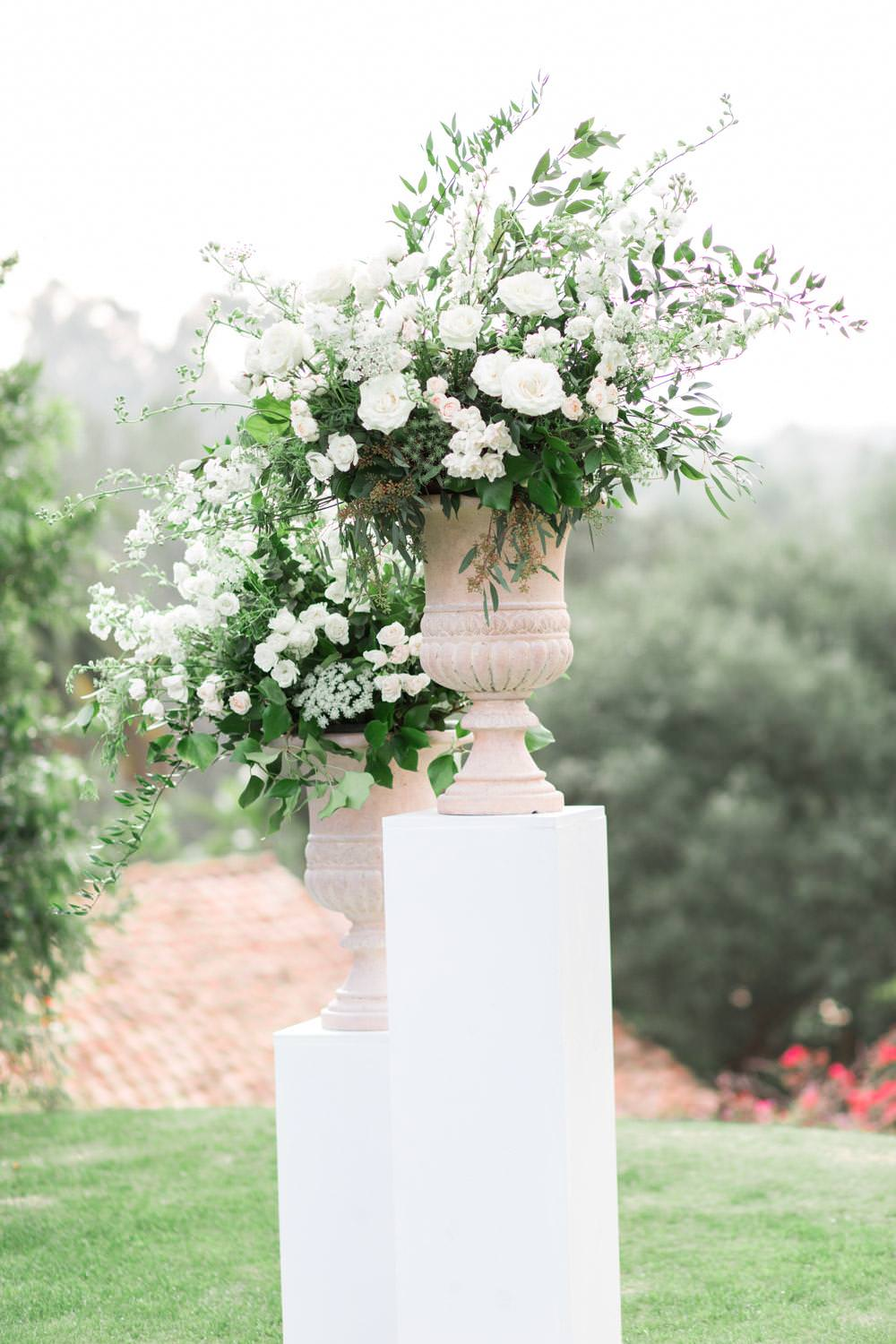 Rancho Valencia Wedding Photography by Cavin Elizabeth, wedding ceremony floral decor with white and green flowers