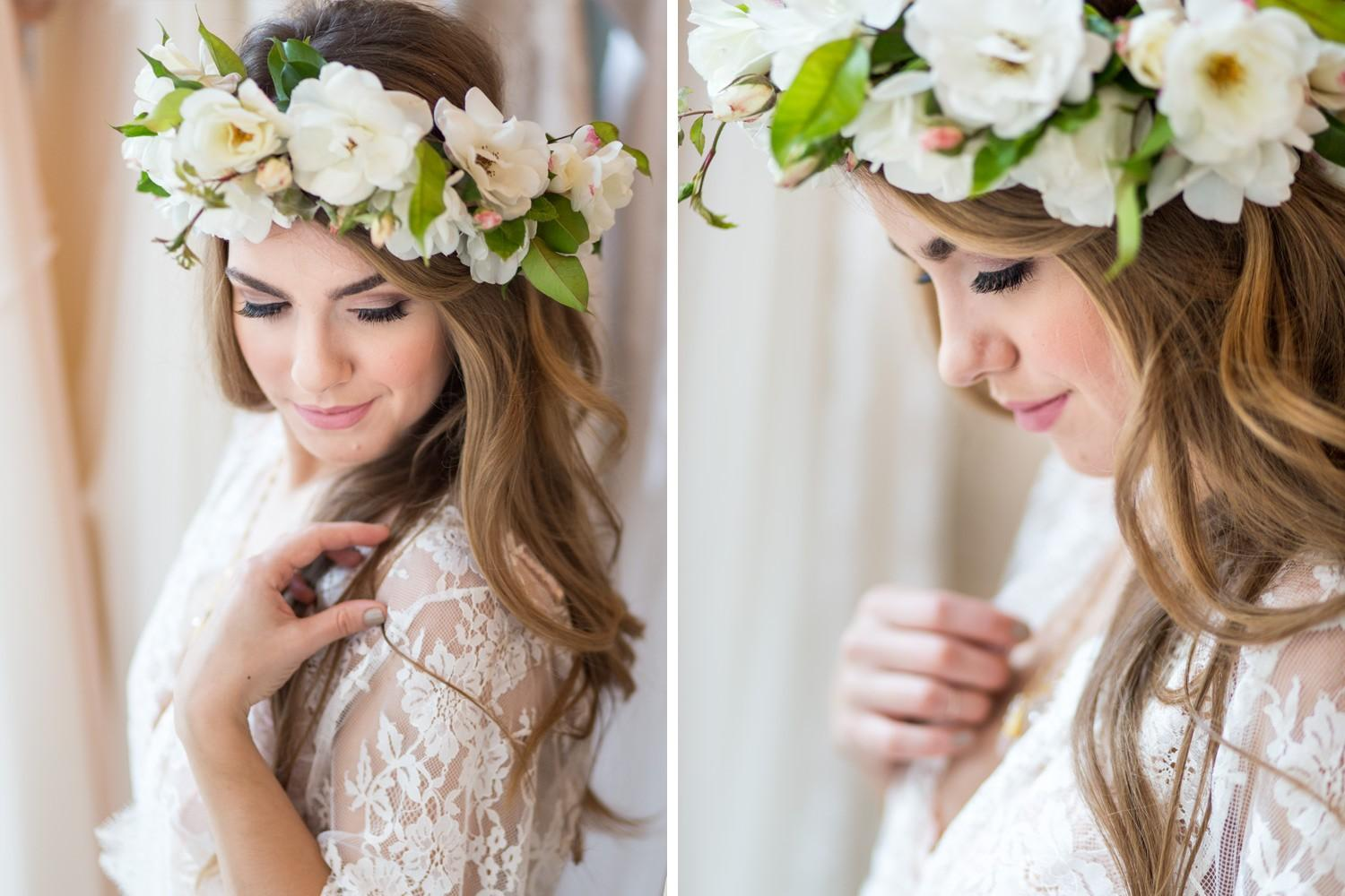 bridal boudoir session with floral crown