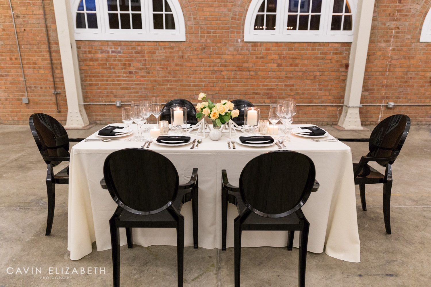 Peach Roses And Candle Reception Decoration Ideas Black Ghost Chairs At 828 Events San