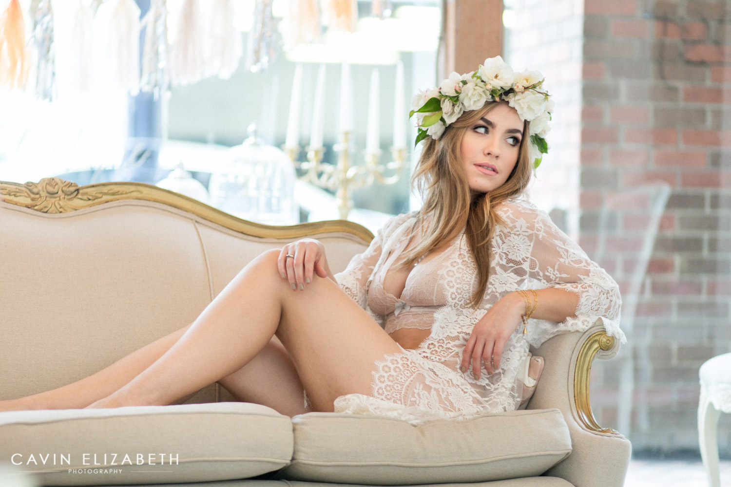 Bride To Be Wears Siren Fl Co Flower Crown And White Lace Robe For Boudoir Shoot