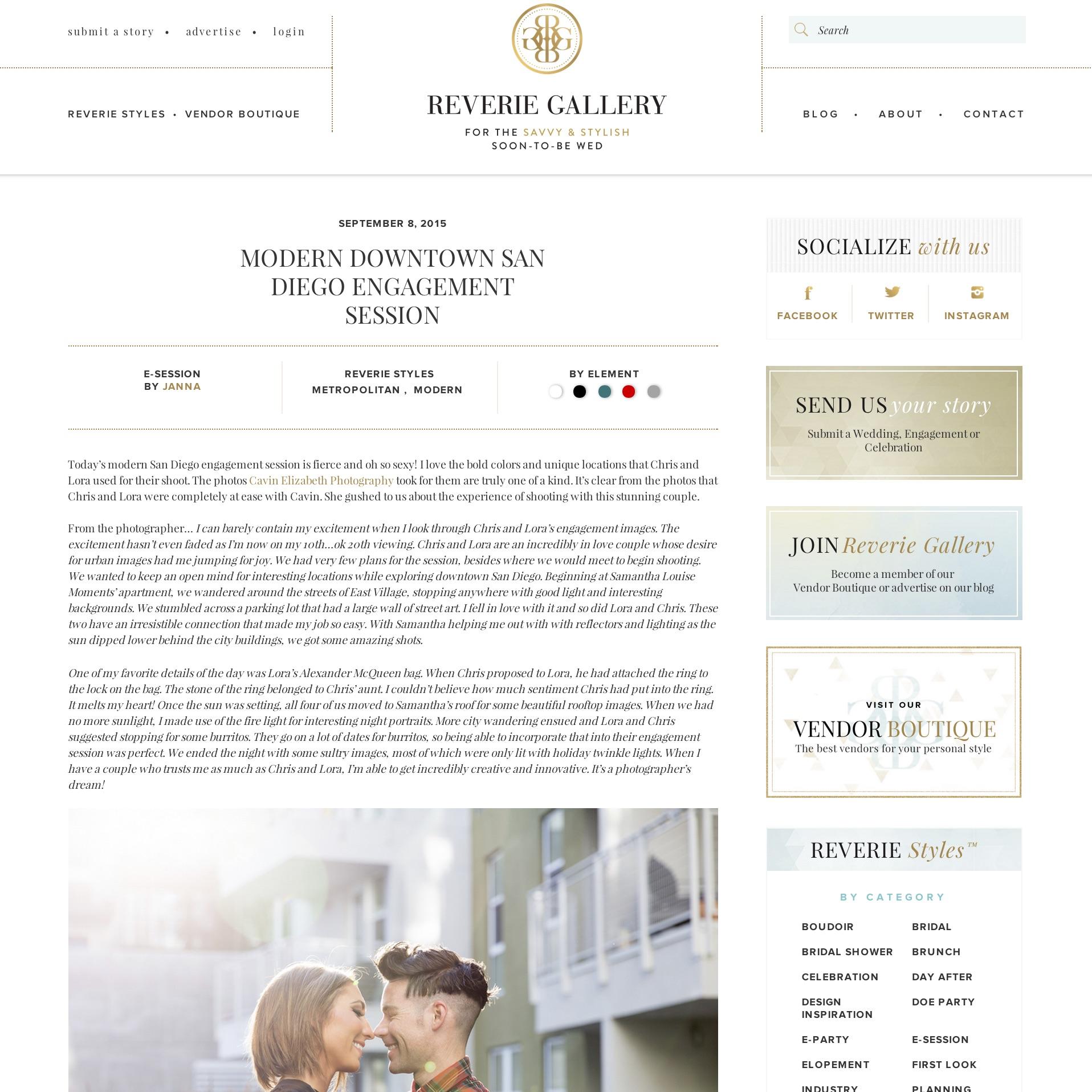 San Diego wedding photographer featured on Reverie Gallery press blog