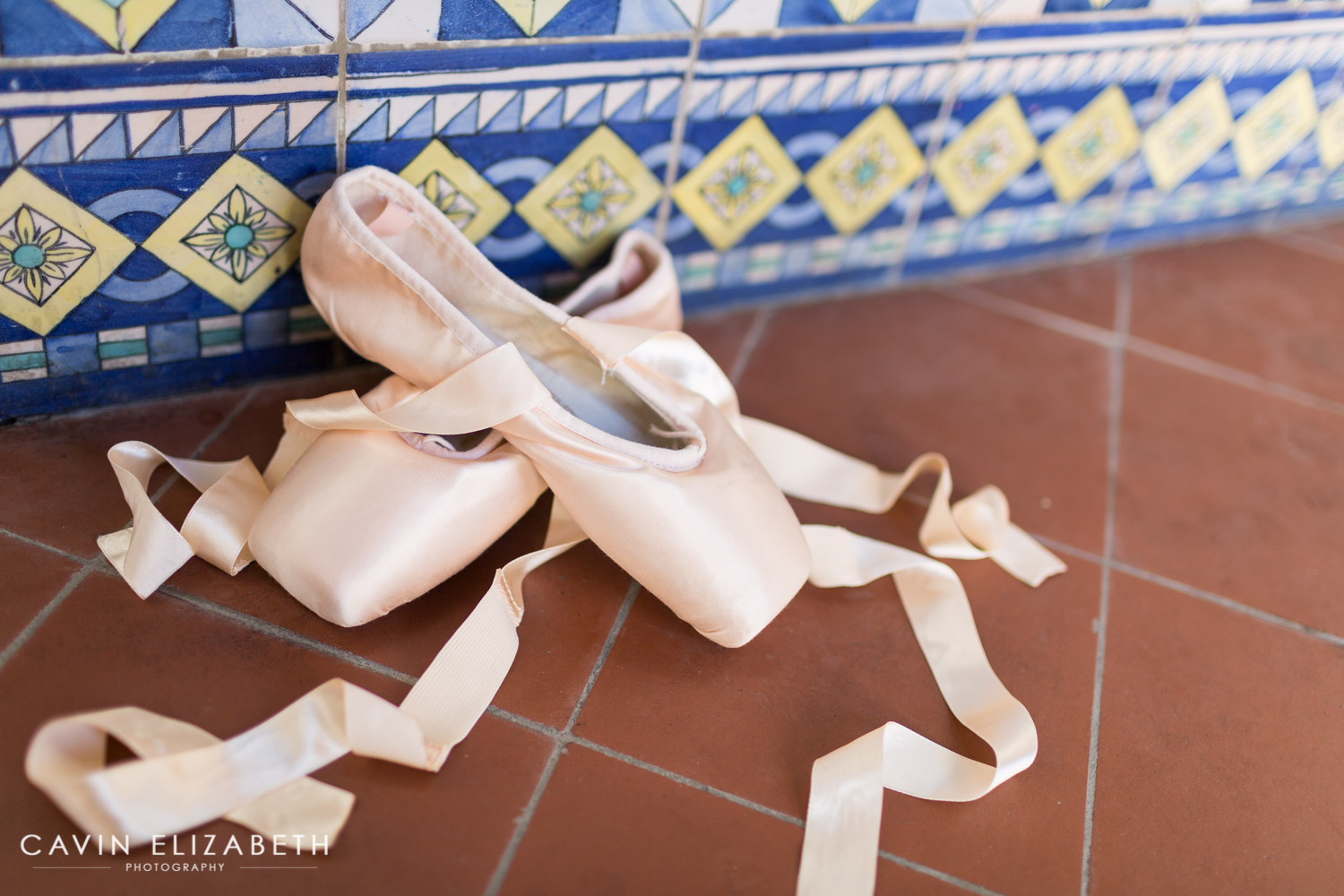 ballet slippers by bloch next to blue and yellow tile at the darlington house