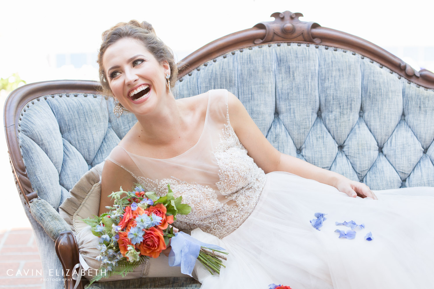 darlington house bride laughing at her wedding, luxury san diego wedding at the darlington house