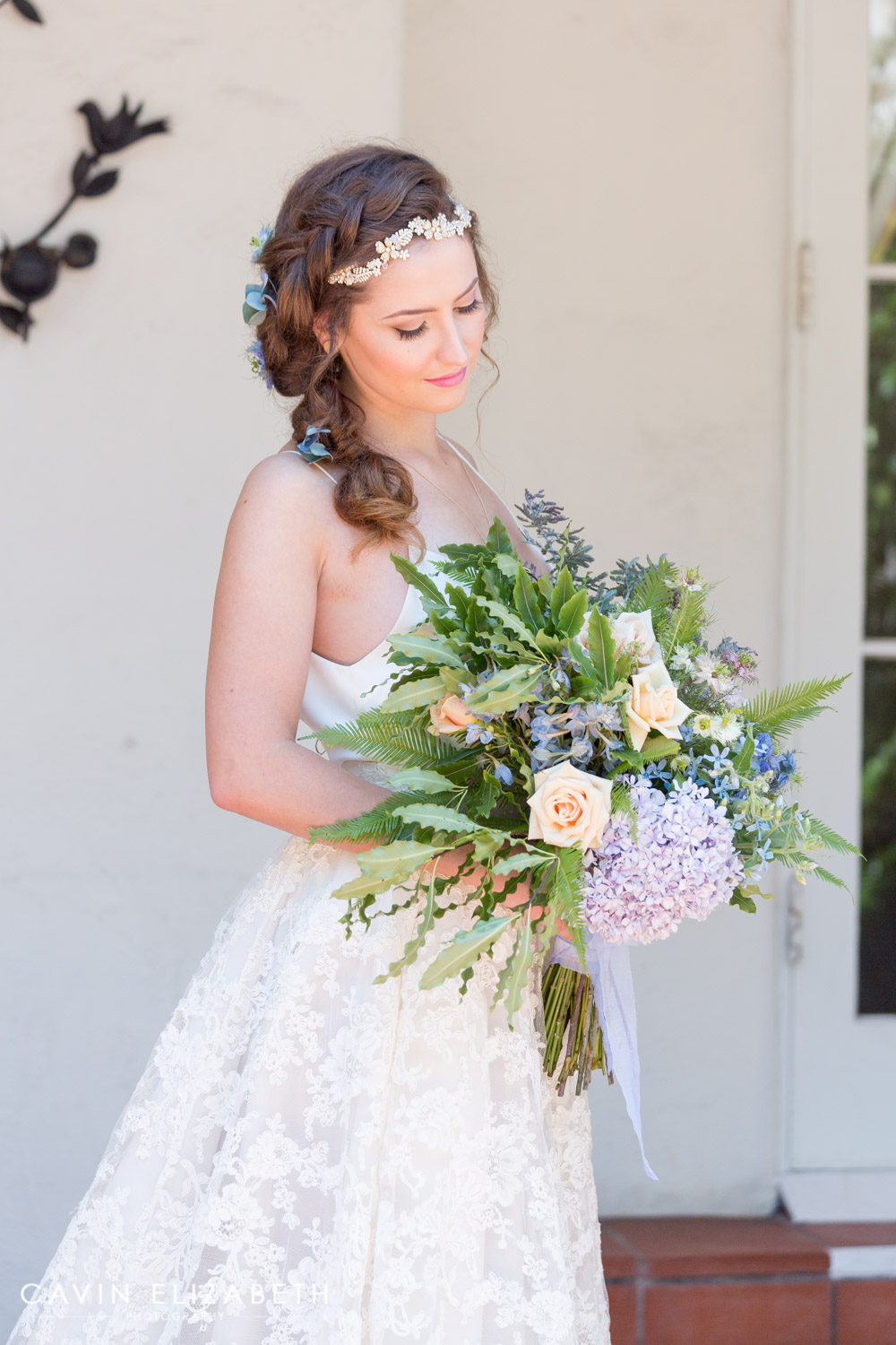 bride with large organic bouquet for a darlington house wedding