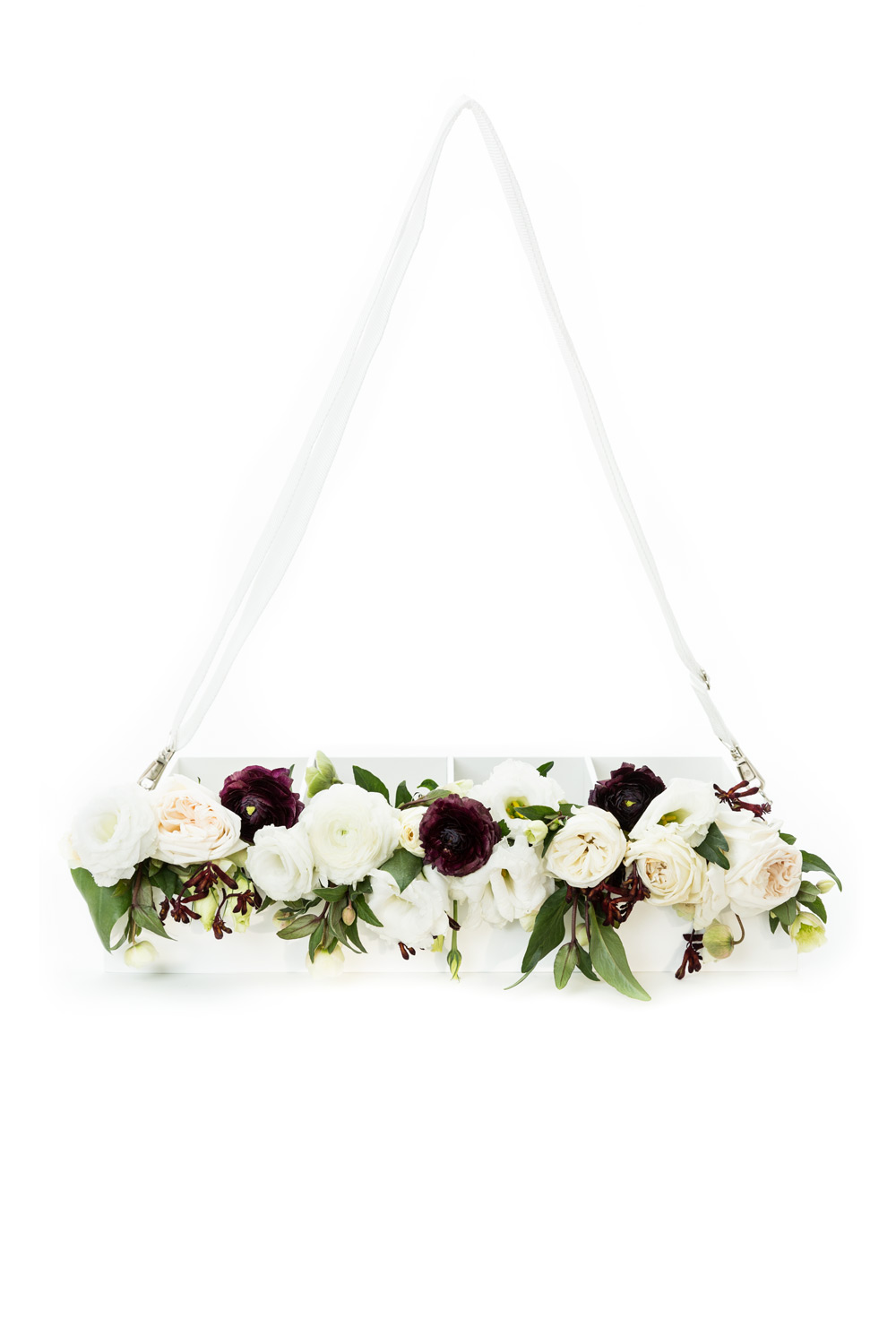 Wearable trays for your wedding vendors to carry fun items for your guests like flowers to throw after your grand entrance by Amorology Weddings and Backup Backdrops, #WeddingMinimalismProject by Cavin Elizabeth Photography